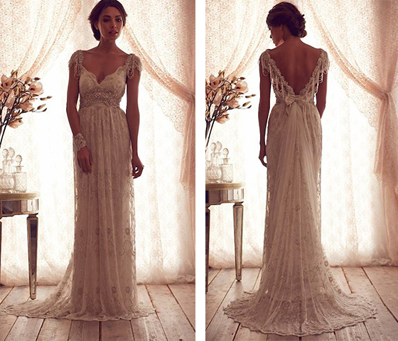 Custom Made A Line Round Necklace Lace Wedding Dresses Deep V Neck Back Dress Ivory For
